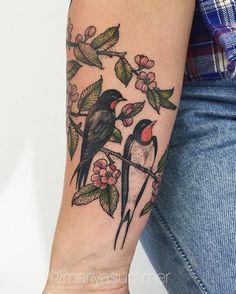 Swallow tattoo - 100 Lovely Swallow Tattoos <3 <3