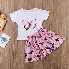 Cute Toddler Kids Baby Girls Summer Outfits Short Sleeve T-shirt Skirt Set Toddler Dress, Toddler Girl Outfits, Toddler Hair, Girls Summer Outfits, Girls Dresses, Cute Baby Clothes, Outfit Sets, Kids Fashion, Toddler Fashion