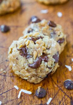 Soft and Chewy Oatmeal Coconut Chocolate Chip Cookies - Made with coconut oil