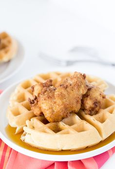 classic chicken and waffle recipe with soft buttermilk waffles and ...