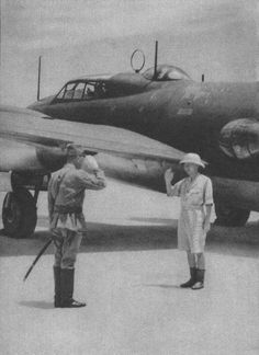 """Prince Kuni Asaakira (Kuni-no-miya) visiting a forward base in the South Pacific. The publication date of the album is December 1943 and of interest is the information from Wikipedia (here) that: """"Prince Kuni was promoted to rear admiral on 1 November 1942, and was given command of the Japanese 19th Naval Fighter Wing, which supported the Japanese occupation of Timor in the Pacific War.""""- Pin it by Gustavo Bueso-Jacquier"""