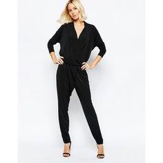 Selected Sadina Long Sleeved Jumpsuit ($89) ❤ liked on Polyvore featuring jumpsuits, black, black v neck jumpsuit, long sleeve jump suit, black long sleeve jumpsuit, jumpsuits & rompers and tall jumpsuits