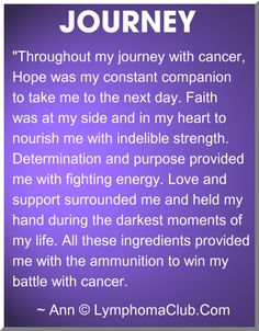 Hope, Love, Support, Faith and Determination -- essential ingredients during my two battles with Hodgkin's Lymphoma