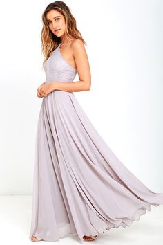 Lulus Exclusive! The Everlasting Enchantment Grey Maxi Dress will have admirers under your spell! Adjustable spaghetti straps support a lacy halter bodice, then crisscross at back. Layers of chiffon sprout from a fitted waist, then sweep down to an elegant maxi length. Hidden back zipper with clasp.