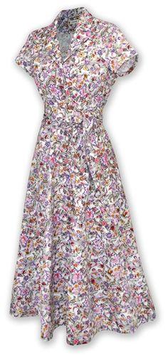 Pretty 1940s floral shirtwaist dress, modest, long hem, short sleeve