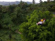 zip lining though the judge of Thailand