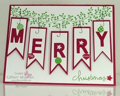 Christmas card made with Little Letters Thinlits die, Bordering Blooms, Endless Wishes and Christmas Bliss stamp sets from Stampin Up by Kathleen Wingerson    www.kathleenstamps.com