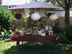 a. party style: milk and cookies party-I love the giant tissue paper pom poms change the color for any theme