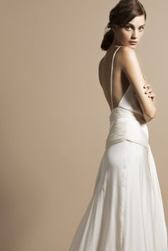 We might have said this before, but we have found your wedding dress. Prepare to gush, swoon, and pin some seriously pretty wedding dresses. All by a designer we have coveted for many years- Delphine Manivet. Minimal Wedding Dress, Wedding Dress Low Back, Pretty Wedding Dresses, Wedding Dresses 2014, Gorgeous Wedding Dress, Designer Wedding Dresses, Bridal Dresses, One Shoulder Wedding Dress, Wedding Gowns