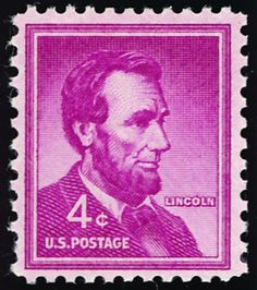 The first-class letter rate rose to 4 cents in 1958, and I certainly remember this stamp on our mail when I was growing up. From 1954, Abraham Lincoln.
