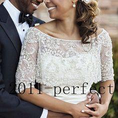 Half Sleeve Crew Neck Bridal Jacket Bead Pearl Custom Wedding Bolero Wrap Shawl