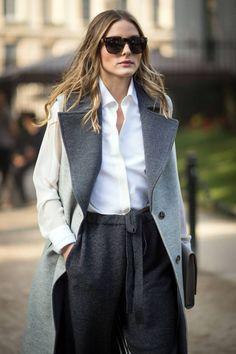 Parementure et col gris foncé Manteau gris clair