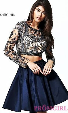 Two-Piece Short Open-Back Homecoming Dress at PromGirl.com