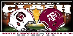 Week 1 matchup between South Carolina and Texas A&M! Buy at the links below to show your team pride!  Texas A&M http://www.walmart.com/ip/Russell-Texas-A-M-Aggies-Men-s-Impact-T-Shirt/38368030  South Carolinahttp://www.walmart.com/ip/Russell-South-Carolina-Gamecocks-Men-s-Impact-T-Shirt/38367850