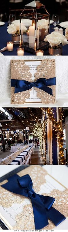 Gorgeous Rose Gold and Navy Blue Sparkling Wedding Invitations with Glittery Mirror Paper EWWS192