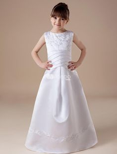 White Sleeveless Satin First Communion Dress. The white communion dress is designed sleeveless,which can show your slender arm while making you more lovely and beautiful.The veil is delicately designed so it is excluded from the communion dress.It is made of satin,whic.. . See More First Communion Dresses at http://www.ourgreatshop.com/First-Communion-Dresses-C911.aspx