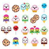 Caractères mignons de nourriture de Kawaii - petit gâteau, glace, biscuit, icônes de lucette Image stock
