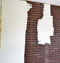 Good for covering the cement basement? Faux brick paneling from Lowes. Same look and feel as brick, can be whitewashed. Brick Wall Paneling, Faux Brick Panels, Brick Walls, Fake Brick Wall, Industrial Shelving, Diy Home Improvement, Cool Walls, Decoration, Lowes