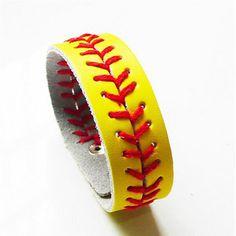 Creative Softball Baseball Bracelet Snap Button Wristlet Fashion Leather Weaving Bangles Sports Jewelry 12 Colors #Affiliate