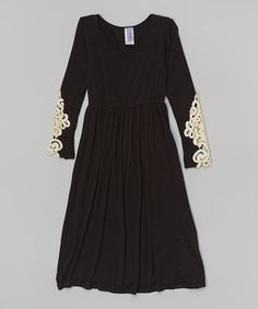This Black Crotchet Lace Maxi Dress - Toddler & Girls by Maya Fashion is perfect! #zulilyfinds