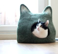 Pets bed / Cat bed - cat cave - cat house - eco-friendly handmade felted wool cat bed - grey and natural white. Stylish cat bed with ears. This grey cat cave was featured in The New York Times Style Magazine like a great gift idea for pet lovers: Crazy Cat Lady, Crazy Cats, Cat Lover Gifts, Cat Lovers, Lovers Gift, Cat Gifts, I Love Cats, Cute Cats, Funny Cats