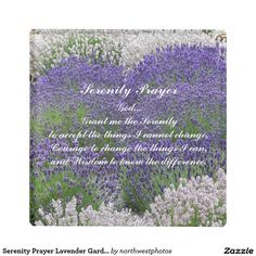 Serenity Prayer Lavender Garden Photo Glass Coaster