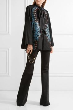 Temperley London - Juniper Satin-trimmed Embroidered Wool And Cashmere-blend Jacket - Black - UK10