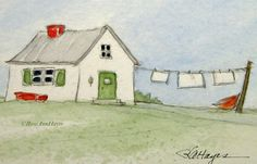 Laundry Day In The Country Watercolor Landscape Original Painting ACEO Farmhouse Laundry Room Art Beach Watercolor, Watercolor Trees, Watercolor Landscape, Watercolour Painting, Watercolor Portraits, Watercolours, Mini Paintings, Easy Paintings, Indian Paintings