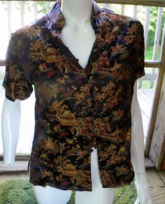 Vintage Peony Brand  Sz L  Silk  Shirt Made in Shanghai China Temple #Peony #Ethnic #Special