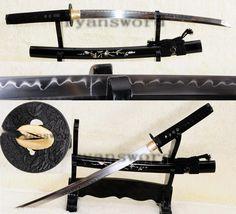 Hand Forged clay tempered shell saya Japanese maru Samurai Wakizashi Sword