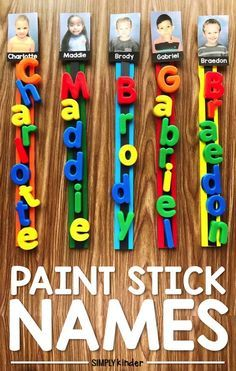Students will love to learn how to spell their name and the name so their classmates with these fun and easy to create Paint Stick Friends. Make it a literacy or writing center, fast finisher or morning tub activity for the beginning of the year. Kindergarten Names, Preschool Names, Preschool Classroom, Preschool Learning, Preschool Activities, Preschool Painting, Preschool Supplies, Preschool Gifts, Classroom Routines
