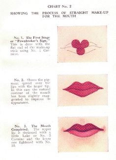"Retro Makeup from The Book of Make Up by Eric Ward, 1930 - Ever wondered how Clara Bow or Carol Lombard achieved their perfect pouts? Well, the wonderful ""A Book of Make-Up"" would love to show you how. Written in this brilliant litt… 1930s Makeup, Retro Makeup, Vintage Makeup, Vintage Nails, Vintage Beauty, Style Vintage, 1940s Style, Mode Inspiration, Makeup Inspiration"