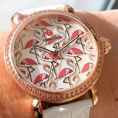 Be a flamingo in a flock of pigeons with the CSX exotic creatures watch featuring a flamingo diamond dial. Click the link in our bio to shop the resort collection featuring other exotic creatures. #MICHELEwatches #shopMICHELE