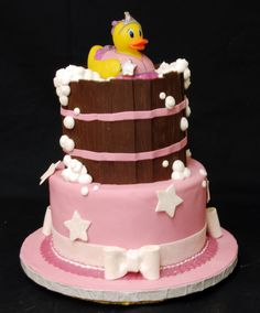 rubber ducky baby shower girl | Pin Pink Rubber Duck Girl Diaper Cake And Yellow Baby Shower Gift Cake ...