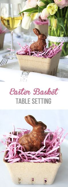 These Easter Basket Table Settings with Chocolate Bunnies are a simple and super cute way to greet your guests at the dinner table.