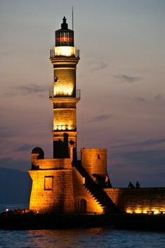 Chania Lighthouse at night, Crete, Greece Saint Mathieu, Beautiful Places, Beautiful Pictures, Lighthouse Pictures, Beacon Of Light, Light Of The World, Water Tower, Venetian, Around The Worlds
