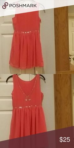 Forever 21 Coral Dress w/Bead Embellish Cute coral dress with chiffon and built in slip. Pretty beads embellishing the neckline and the low cut back. Forever 21 Dresses Mini