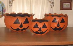 Pumpkins made from recycled tires | Recycled Tire Flower Planters