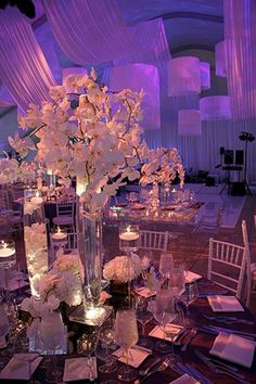 Amazing orchids - soft marquee draping and modern customised lampshades