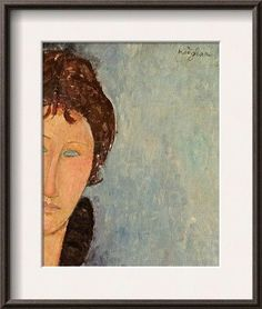 'Woman with Blue Eyes, C.1918' by Amedeo Modigliani Framed Painting Print