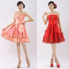 Discount China china wholesale Floral Romantic Bow Tie Sash Embroidery Strapless Short Wedding Dress [31040] - US$37.49