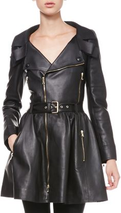 RED Valentino Exposed-Zip Leather Trenchcoat | #Chic Only #Glamour Always