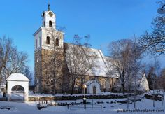 The Church of the Holy Cross during winter in Rauma, Finland. Holy Cross, Denmark, Norway, Wanderlust, Europe, Mansions, Heritage Site, World, House Styles