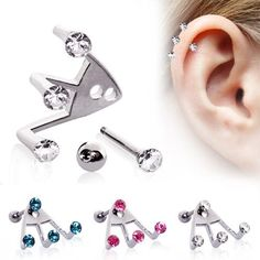 """Surgical Steel """"Trident Triple"""" Round CZ Ear Lobe Earring- Surgical Steel """"Trident Triple"""" Round CZ Cartilage Earring Unique doesn't even begin to describe for this one of kind designer piece. The sui generis of this ear fashioned, trident Piercing Oreille Cartilage, Piercing Cartilage, Cartilage Earrings, Ear Plugs, Gauges, Cute Piercings, Body Piercings, Tongue Piercings, Round Earrings"""