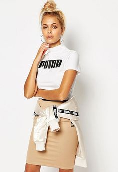 27e19a6fc4 Model wearing Puma logo T-shirt from ASOS Sporty Outfits