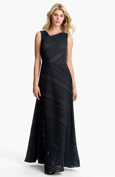 Tadashi Shoji Asymmetrical Neckline Pleated Chiffon Gown available at #Nordstrom  Navy? Might be interesting!