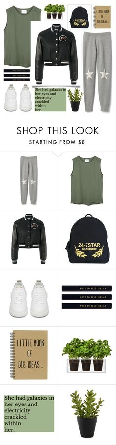 """STARS"" by sellyankumala ❤ liked on Polyvore featuring Givenchy, Dsquared2, Golden Goose, Boskke, GREEN, bomberjacket and sweatpants"