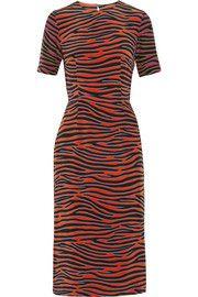 Zebra-print silk crepe de chine midi dress