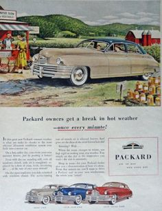 Packard Cars, 40's Print Ad. Color Illustration (all-season ventilation system /Brindle art) Original Vintage 1948 Life Magazine Print Art