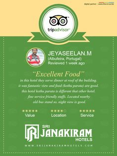 Here is an other Happy Guest Jeyaseelan.M from Portugal, reviewed and rated us in Tripadvisor. We thank our guest for giving your feed back.  #tripadvisor #feedback #guest #bangalore #reviewed #happy #customer